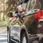kids having fun in car